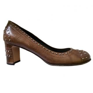 Prada Brown Leather Studded Court Shoes