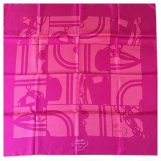 Hermes Pink En Desordre Silk Scarf 90