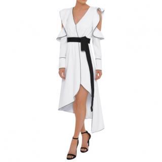 Self Portrait white asymmetric wrap dress