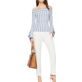 BCBG Max Azria Striped Off-Shoulder Top
