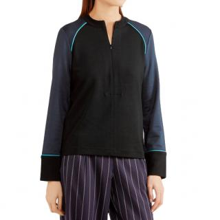 Ganni Rogers metallic-trimmed stretch-jersey sweatshirt