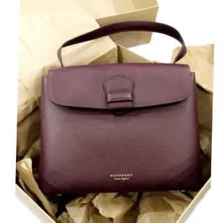 Burberry Burgundy Leather and Burberry Check Shoulder Bag