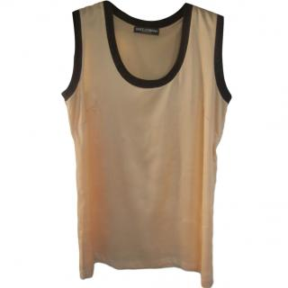 Dolce & Gabbana pale orange silk vest top