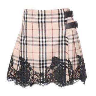Burberry check lace trimmed mini kilt skirt