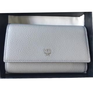 MCM grey three fold leather wallet