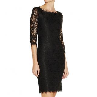 Diane Von Furstenburg black fitted lace dress