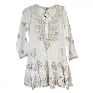 Juliet Dunn silver embroidered white beach dress