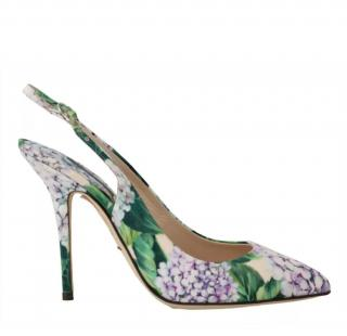 Dolce & Gabbana Hydrangea-print slingback pumps