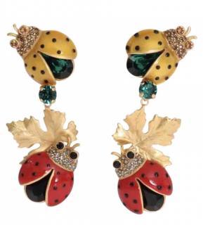 Dolce & Gabbana enamel ladybird-drop clip-on earrings
