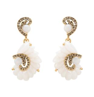 Oscar de la Renta Resin Swirl Scalloped Earrings