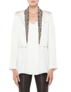Haute Hippie Ivory Embellished Cropped Jacket