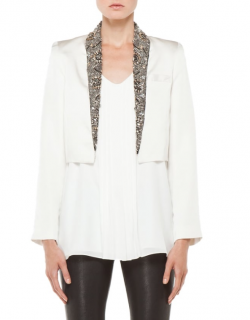 Haute Hippie Ivory Embellished Cropped Jacket