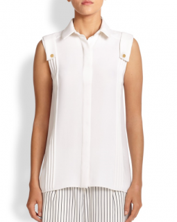 Derek Lam Sleeveless White Silk Blouse