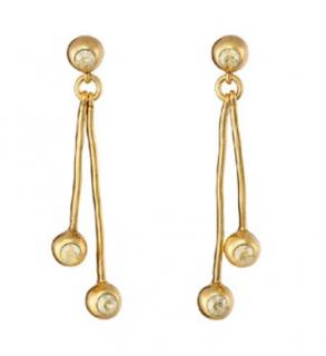 Oscar De La Renta crystal linear drop gold tone earrings