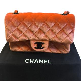 Chanel small classic quilted coral pink velvet bag