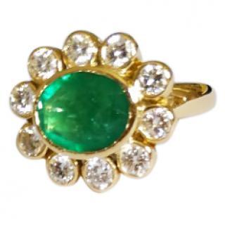 Bespoke Emerald & Diamond Vintage Halo Ring