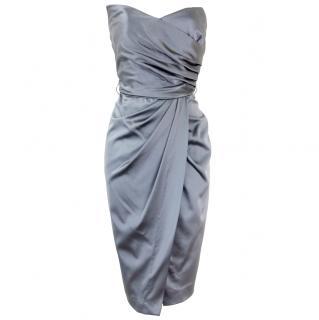 Alberta Ferretti Grey Satin Strapless Dress