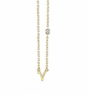 Sydney Evan .015ct Diamond V Pendant Necklace