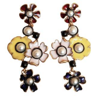 Oscar de la Renta floral enamel-drop earrings