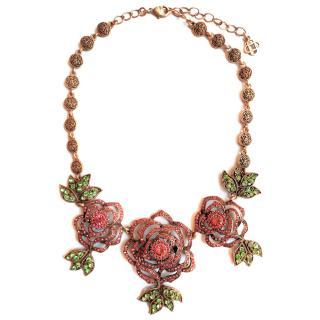Oscar de la Renta crystal-embellished rose necklace