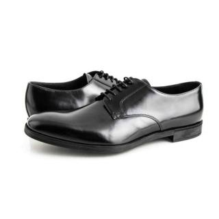 Prada black leather derby shoes