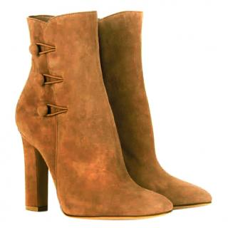 Gianvito Rossi Savoie tan suede ankle boots