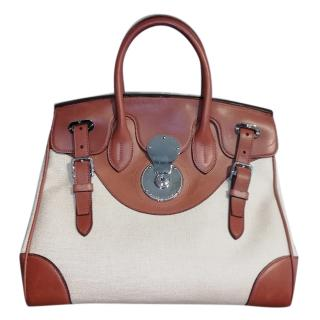 Ralph Lauren leather & canvas bicolour Ricky 33 bag