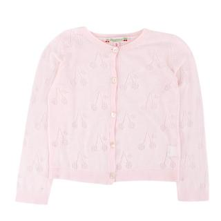 Bonpoint Girls 2Y Pink Knit Cherry Cardigan
