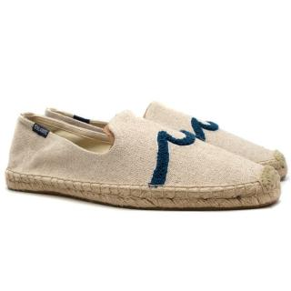 Soludos Beige Waves Smoking Espadrilles