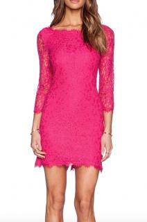 Diane Von Furstenberg Pink Lace Dress