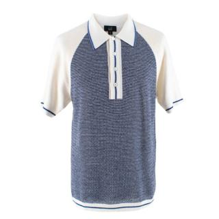 Dunhill White and Blue Wool Knit Polo Shirt