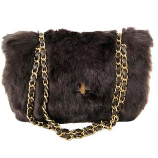 Yves Salomon Chocolate Brown Rabbit Fur Bag