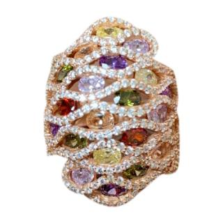 Bespoke rose-gold plated silver crystal ring