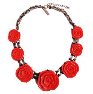 Oscar De La Renta Floral Resin Pendant Necklace