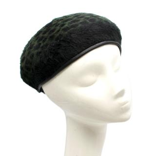 Yestadt Millinery Green Leopard Print Pony Hair Beret
