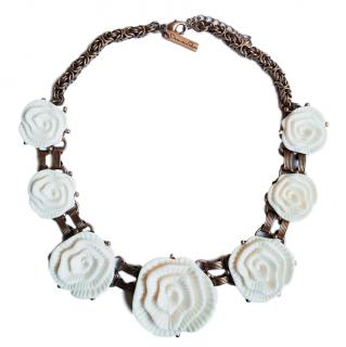 Oscar De La Renta White Floral Resin Pendant Necklace