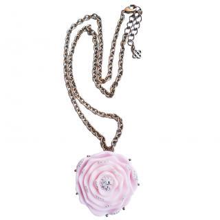 Oscar De La Renta Pink Crystal Embellished Rose Pendant Necklace