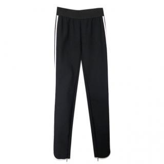 Stella McCartney Black Zip Detail Trousers W/ White Side Stripe
