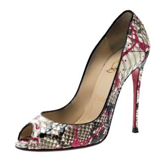 Christian Louboutin Paint Splatter Python Peep-Toe Pumps