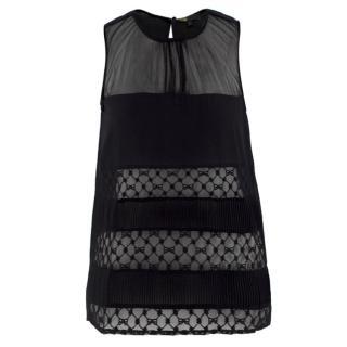 Maje Black Lace Panel Silk Top