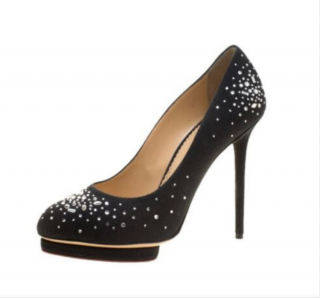 Charlotte Olympia Bejeweled Dotty Linen Platform