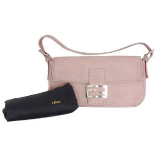 Fendi pink baguette selleria leather bag