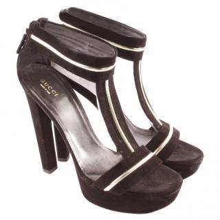 Gucci Brown Suede Metallic Trim Sandals