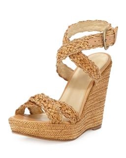 Stuart Weitzman Hoopla Woven Wedge Sandals
