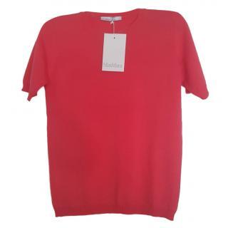 Max Mara Coral Pink Short Sleeve Sweater