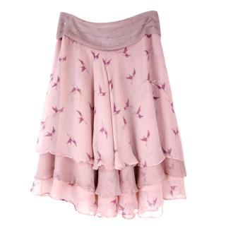 Temperley Pink Hummingbird Layered Silk Skirt
