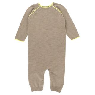 Bonpoint Baby 12M Grey Yellow Linen Blend Baby Grow