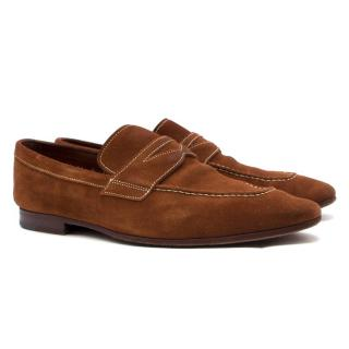 Santoni Brown Suede Loafers