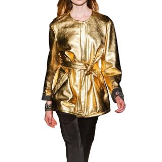 Barbara Bui Gold Lame Belted Leather Jacket