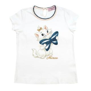 MonnaLisa Bebe 2Y White Aristocats Print Top